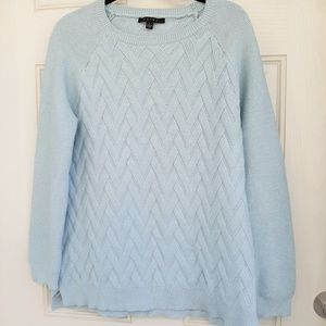 Cyrus Baby Blue Cable Knit Sweater